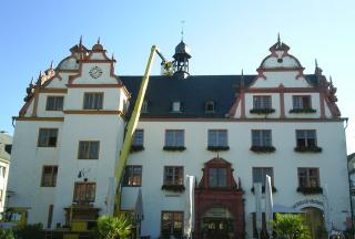 Arbeiten am Glockenturm vom Alten Rathaus Darmstadt